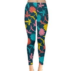 Colorful Floral Pattern Leggings  by DanaeStudio