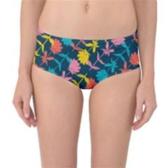Colorful Floral Pattern Mid Waist Bikini Bottoms by DanaeStudio
