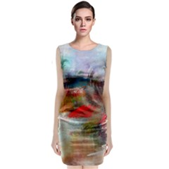 abstract reds and beiges  Classic Sleeveless Midi Dress by artistpixi