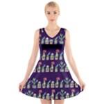 Cute Cactus Blossom V-Neck Sleeveless Dress