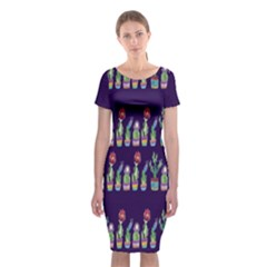Cute Cactus Blossom Classic Short Sleeve Midi Dress by DanaeStudio