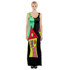 Two houses 2 Maxi Thigh Split Dress by Valentinaart