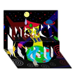 Colorful Universe Miss You 3d Greeting Card (7x5) by Valentinaart