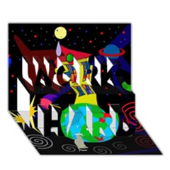 Colorful Universe Work Hard 3d Greeting Card (7x5) by Valentinaart