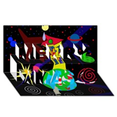 Colorful universe Merry Xmas 3D Greeting Card (8x4)