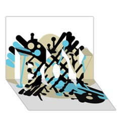 Abstract Decor   Blue Boy 3d Greeting Card (7x5) by Valentinaart
