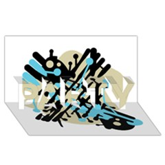 Abstract Decor   Blue Party 3d Greeting Card (8x4) by Valentinaart