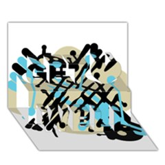 Abstract Decor   Blue Get Well 3d Greeting Card (7x5) by Valentinaart