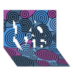 Blue hypnoses LOVE 3D Greeting Card (7x5)