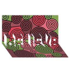 Red And Green Hypnoses Believe 3d Greeting Card (8x4) by Valentinaart