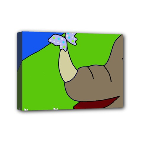 Butterfly And Rhino Mini Canvas 7  X 5  by Valentinaart