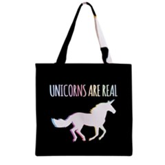 Unicorns Are Real Grocery Tote Bag by TanyaDraws