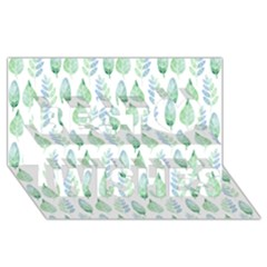 Green Watercolour Leaves Pattern Best Wish 3d Greeting Card (8x4) by TanyaDraws