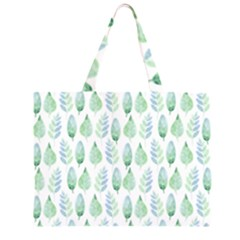 Green Watercolour Leaves Pattern Large Tote Bag by TanyaDraws