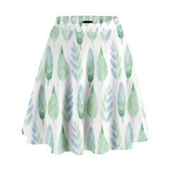 Green Watercolour Leaves Pattern High Waist Skirt by TanyaDraws