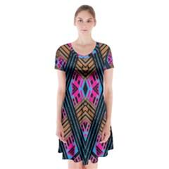 House Of House (3)ujuj Short Sleeve V-neck Flare Dress by MRTACPANS