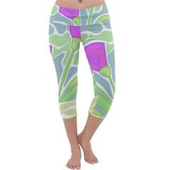 Purple flowers Capri Yoga Leggings by Valentinaart