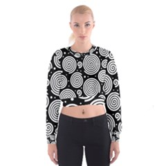 Black and white hypnoses Women s Cropped Sweatshirt by Valentinaart