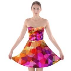 Geometric Fall Pattern Strapless Bra Top Dress by DanaeStudio