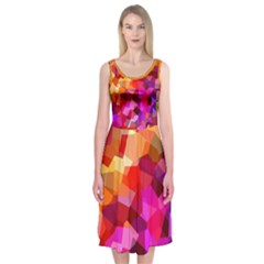 Geometric Fall Pattern Midi Sleeveless Dress by DanaeStudio