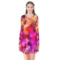Geometric Fall Pattern Long Sleeve V Neck Flare Dress by DanaeStudio