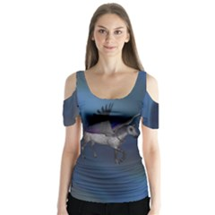Blue Mists Butterfly Sleeve Cutout Tee  by smartoffantasy