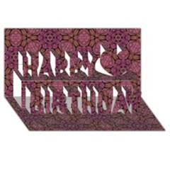 Fuchsia Abstract Shell Pattern Happy Birthday 3d Greeting Card (8x4) by TanyaDraws