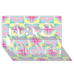 Pastel Block Tiles Pattern Best Wish 3d Greeting Card (8x4) by TanyaDraws