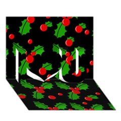 Christmas Berries Pattern  I Love You 3d Greeting Card (7x5) by Valentinaart