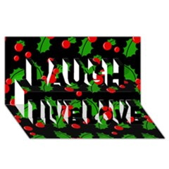 Christmas Berries Pattern  Laugh Live Love 3d Greeting Card (8x4) by Valentinaart