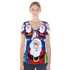 Santa Claus  Short Sleeve Front Detail Top by Valentinaart
