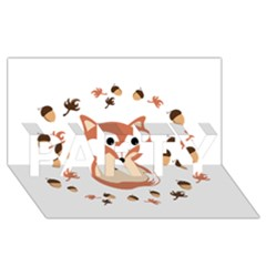 Fox In Autumn Party 3d Greeting Card (8x4) by vanessagf