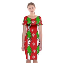 Christmas tree pattern - red Classic Short Sleeve Midi Dress by Valentinaart