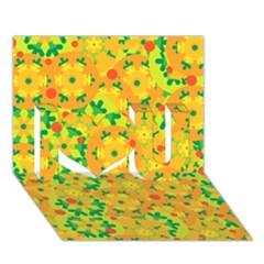 Christmas decor - yellow I Love You 3D Greeting Card (7x5)