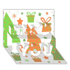 Christmas Design   Green And Orange Miss You 3d Greeting Card (7x5) by Valentinaart