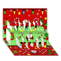 Christmas Pattern   Green And Red Thank You 3d Greeting Card (7x5) by Valentinaart