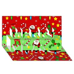Christmas Pattern   Green And Red Merry Xmas 3d Greeting Card (8x4) by Valentinaart