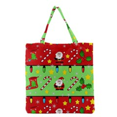 Christmas Pattern   Green And Red Grocery Tote Bag by Valentinaart