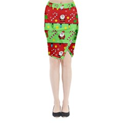 Christmas Pattern   Green And Red Midi Wrap Pencil Skirt by Valentinaart