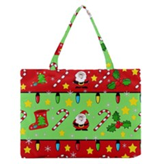 Christmas Pattern   Green And Red Medium Zipper Tote Bag by Valentinaart