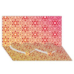 Orange Ombre Mosaic Pattern Twin Heart Bottom 3d Greeting Card (8x4) by TanyaDraws