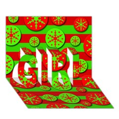 Snowflake Red And Green Pattern Girl 3d Greeting Card (7x5)