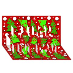 Twisted Christmas Trees Laugh Live Love 3d Greeting Card (8x4) by Valentinaart