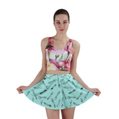 Spoonie Strong Print in Light Turquiose Mini Skirt by AwareWithFlair