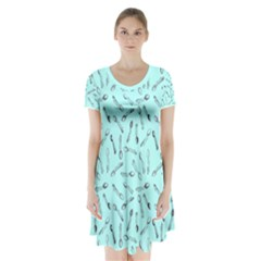Spoonie Strong Print in Light Turquiose Short Sleeve V-neck Flare Dress by AwareWithFlair