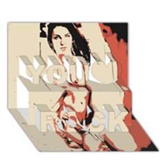 39 Sexy Conte Sketch Girl In Room Naked Boobs Nipples Pussy You Rock 3d Greeting Card (7x5) by PeterReiss