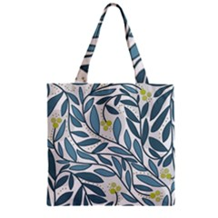 Blue Floral Design Zipper Grocery Tote Bag by Valentinaart