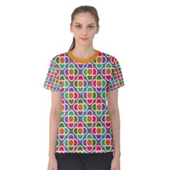 Modernist Floral Tiles Women s Cotton Tee by DanaeStudio
