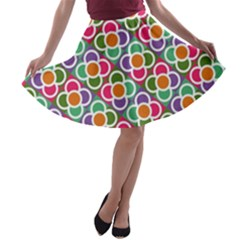 Modernist Floral Tiles A Line Skater Skirt by DanaeStudio