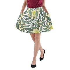Green Floral Pattern A Line Pocket Skirt by Valentinaart